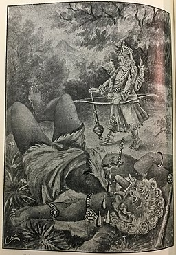 Indra kills Vrttirasura (story from Rik Veda, featured in Bhagavatha)