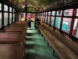 Interior of Cleveland Railway 1227 at Seashore Trolley Museum, September 2012.jpg