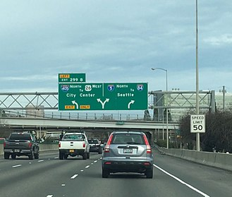 Interstate 5 - I-5 northbound junction with I-405 south of Downtown Portland