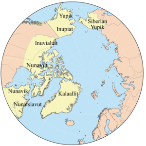 Map showing the members of the Inuit Circumpol...