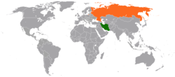 Map indicating locations of Iran and Russia