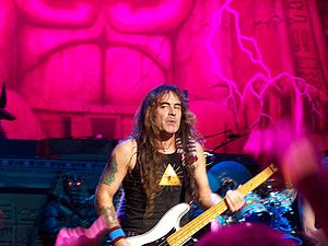 Bassist Steve Harris of Iron Maiden is known f...
