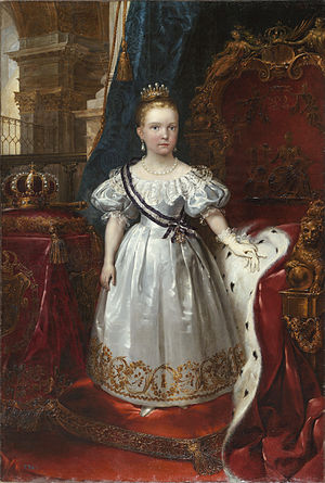 Isabella II of Spain - Isabella II as a child. She is depicted wearing the sash of the Order of Queen Maria Luisa.