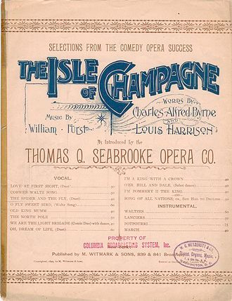 William Furst - Sheet music from Furst's The Isle of Champagne