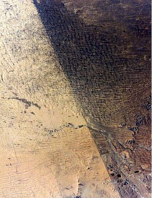 Overgrazing - Satellite image of the border between Israel and Egypt. The Egyptian side, to the left, is overgrazed