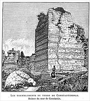1894 Istanbul earthquake - An 1894 xylograph showing damage to the Wall of Constantine, in Istanbul, following the July 10, 1894, earthquake in Istanbul. Printed originally in Science Illustré, 25 August 1894, p 193.