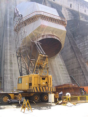 Itaipu Dam - The dam undergoes expansion work.