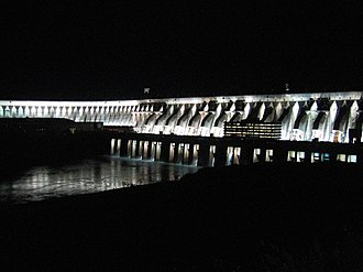 Eletrobras - The Itaipu Dam at night - The world's largest hydroelectric plant by energy generation and second-largest by installed capacity