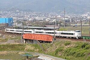 Maizuru (train) - 287 series EMU on a Kinosaki (4 cars) and Maizuru (3 cars) service, April 2011