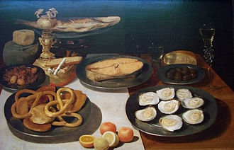Pretzel - Fish lunch by Jacob Foppens van Es, before 1640, Museum of Fine Arts of Nancy