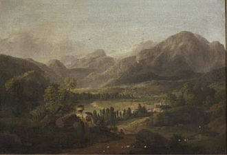 Jakob Gauermann - Landscape with the Altaussee lake and the Hallstätter Glacier, 1826
