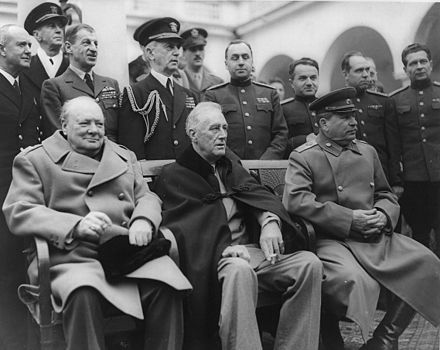 The Yalta Conference in 1945. Seated from left Winston Churchill, Franklin D. Roosevelt and Joseph Stalin. Jalta 1945.jpg