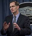 James Miller, Under Secretary of Defense for Policy, answers questions from the press after Secretary of Defense Chuck Hagel announced a change in U.S. missile defense deployment during a Pentagon press briefing.jpg