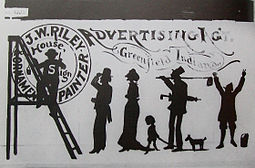 James Whitcomb Riley, house and sign painted advertisement, 1871.jpg