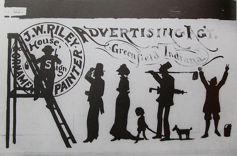 James Whitcomb Riley, house and sign painted advertisement, 1871