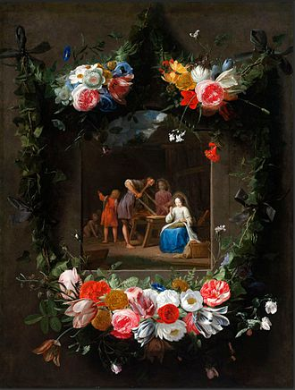 Nikolaus van Hoy - Garland of Flowers Surrounding the Holy Family, collaboration between van Hoy and Jan Anton van der Baren