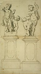 Two groups of children at play on a pedestal