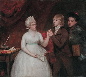 Sir George Staunton, 2nd Baronet - Lady Jane Staunton (d. 1823) with her son, afterwards Sir George Thomas Staunton Bart. (1781–1859), and a Chinese attendant holding a chest of tea. (John Hoppner, circa 1792)