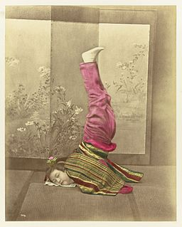 Japanese woman on her head by Baron von Stillfried