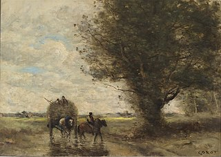 Hay wagon (the wagon moves a ford next a large tree)