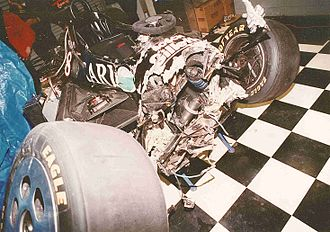 1992 Indianapolis 500 - The devastating aftermath of Jeff Andretti's crash in turn 2.