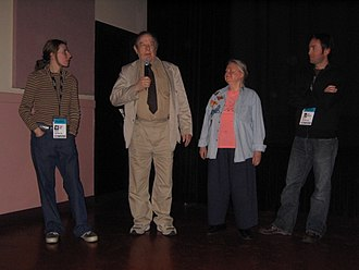 Alan Abel - Alan Abel (second from left) in 2005, with his daughter, wife, and Jeff Hockett