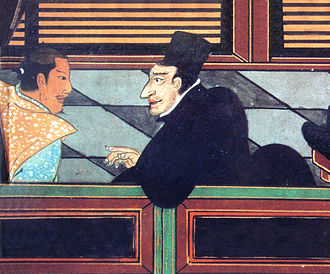 Kirishitan - A Jesuit with a samurai, circa 1600.