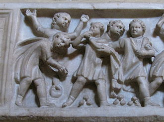 Marble (toy) - Roman children playing with nuts, child sarcophagi circa 270-300. Museum Pio Clementino, Vatican