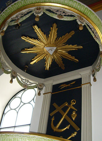 Tetragrammaton in sunburst on ceiling, symbols...