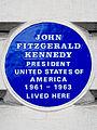 John Fitzgerald Kennedy President United States of America 1961-1963 lived here.jpg