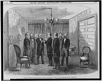 Presidency of Andrew Johnson - Contemporary woodcut of Johnson being sworn in by Chief Justice Chase as Cabinet members look on, April 15, 1865
