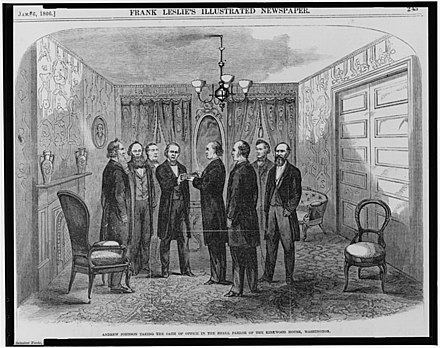Contemporary woodcut of Johnson being sworn in by Chief Justice Chase as Cabinet members look on, April 15, 1865 Johnson inauguration.jpg