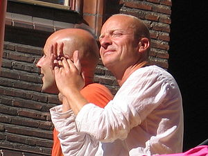 Jonas Gardell - Jonas Gardell (right) with husband Mark Levengood at Stockholm Pride parade 2006