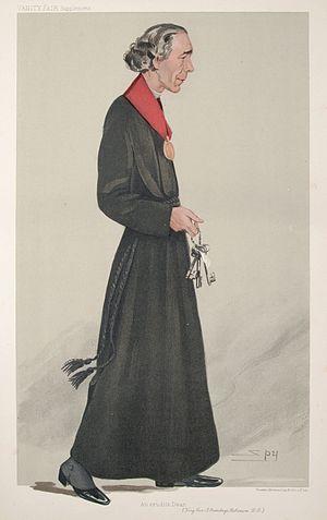 """Armitage Robinson - """"An erudite Dean"""" As depicted by """"Spy"""" (Leslie Ward) in Vanity Fair, December 1905"""