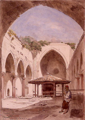 Pervâne - Court of Pervâne Medrese. Watercolour by Jules Laurens.
