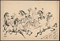 Jumping strings of horses, only two riders LCCN2018647624.jpg