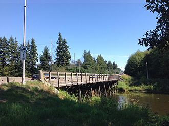 King George Boulevard - Wooden bridge crossing Nicomekl River in South Surrey.