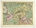 Kaart van Hengouwen met Bergen en omliggende steden, 1709 't Gebied van Bergen en de Omlegg Steden in Henegouwen enz, waar in men kan na sporen de Marssen en Legeringe van de Victorie 11 sept 1709, e, RP-P-AO-19-21.jpg