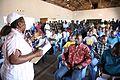 Kamina, province du Katanga, RD Congo - Une enseignante de l'Unité d'Exécution du Plan National DDR donne un cours d'alphabétisation aux ex-combattants cantonnés au camp de Kamina dans le cadre du processus DDR 3. (18948362084).jpg
