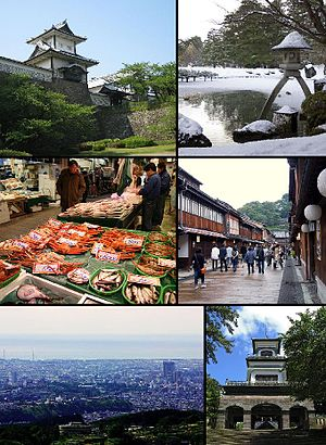 From top left: Gate of Kanazawa Castle, Kenroku-en, Ōmichō Market, Higashi Geisha District, Kanazawa seen from Mt. Kigo, Oyama Shrine