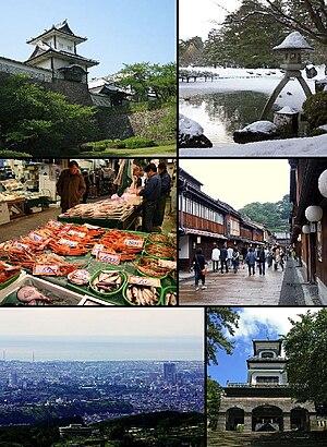 From top left: Gate of Kanazawa Castle, Kenroku-en, Ōmichō Market, Higashi Geisha District, Kanazawa seen from Mt. Kigo, Oyama Shrine