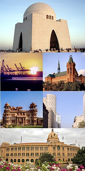 From the top: Mazar-e-Quaid, Frere Hall, Central Business District, Karachi Port Trust Building Mohatta Palace, Port of Karachi.
