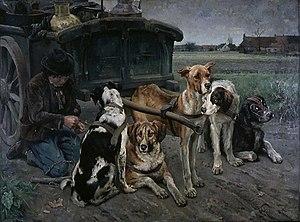 Karl Uchermann - Flamsk hundeforspann (1880)