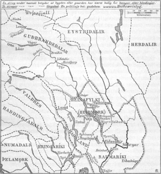 Ringerike (traditional district) - Map of the historical Uplands.