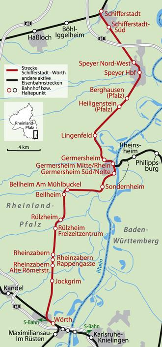 Schifferstadt–Wörth railway - Image: Karte Bahnstrecke Schifferstadt Wörth