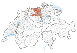 Map of Switzerland, location of Aargau highlighted