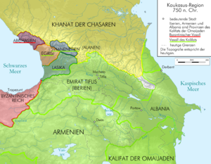 Arab–Khazar wars - Map of the Caucasus region c. 750.