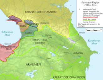 Maslama ibn Abd al-Malik - Map of the Caucasus region ca. 750