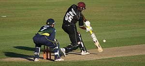 Kieron Pollard - Kieron Pollard batting for Somerset during the 2010 FPt20.
