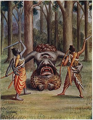 Kabandha - The exiled princes Rama and Lakshamana were caught by Kabandha, whose arms they severed.